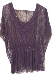 HeartSoul Sequin Lace Sheer Top Plum