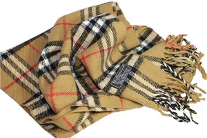 Burberry Burberry Check Cashmere Fringed Scarf - Preloved