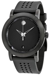 Movado Black PVD Stainless Steel Rubber Strap Designer MENS Watch