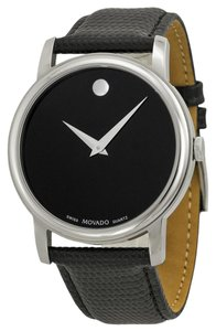 Movado Silver Stainless Steel Black Leather Strap Designer MENS Watch