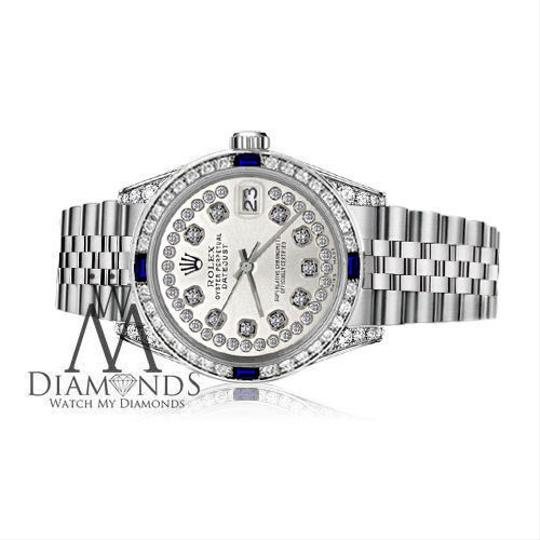 Rolex Ladies Rolex 26mm Datejust S/S Silver Dial Sapphire & Diamond Accent Image 1