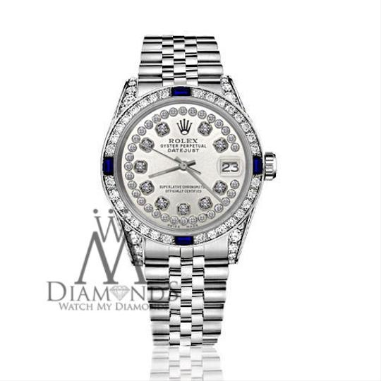 Rolex Ladies Rolex 26mm Datejust S/S Silver Dial Sapphire & Diamond Accent Image 2