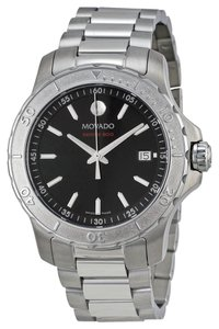 Movado Black Dial Silver Stainless Steel Designer Spot MENS Watch