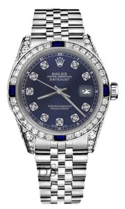 Rolex Ladies Rolex 26mm Datejust Navy Blue Dial Sapphire & Diamond Bezel
