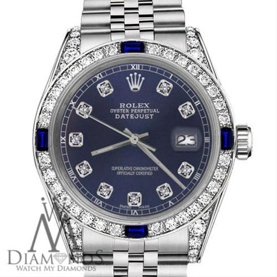 Rolex Ladies Rolex 26mm Datejust Navy Blue Dial Sapphire & Diamond Bezel Image 1