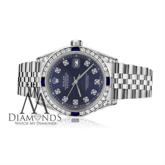 Rolex Ladies Rolex 26mm Datejust Navy Blue Dial Sapphire & Diamond Bezel Image 6