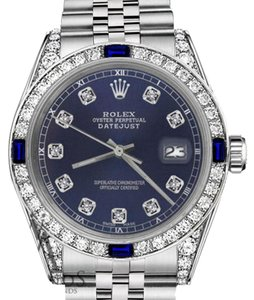Rolex Rolex 36mm Datejust Navy Blue Dial Sapphire & Diamond Bezel Accent