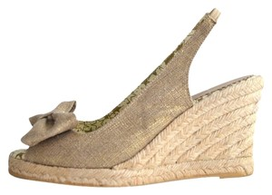 Lulu Guinness Espadrille Metallic Bow Canvas Natural Wedges