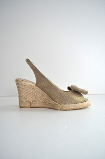 Lulu Guinness Espadrille Metallic Bow Canvas Natural Wedges Image 1