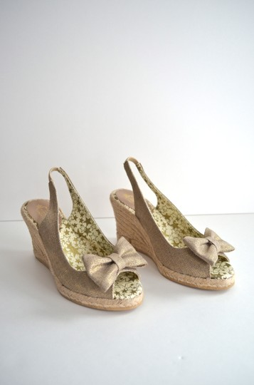 Lulu Guinness Espadrille Metallic Bow Canvas Natural Wedges Image 2