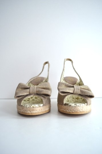 Lulu Guinness Espadrille Metallic Bow Canvas Natural Wedges Image 5