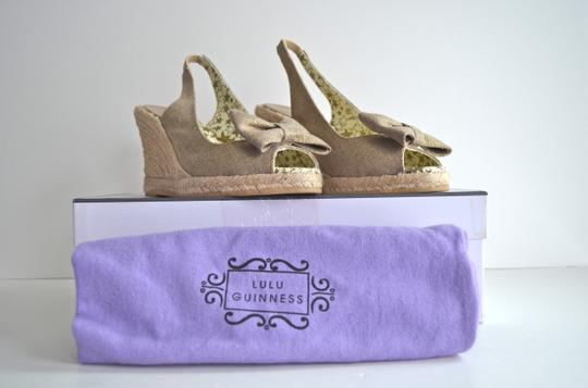 Lulu Guinness Espadrille Metallic Bow Canvas Natural Wedges Image 8