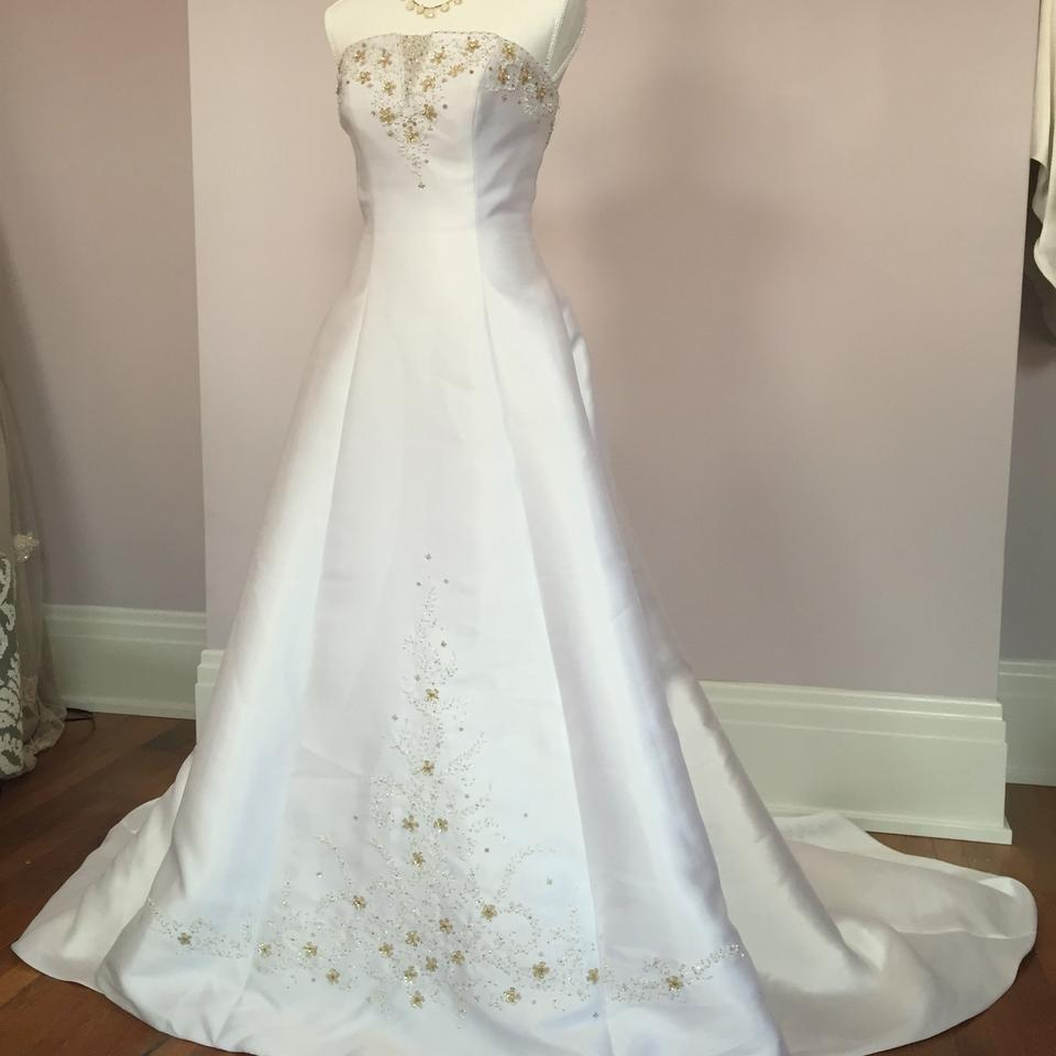 Alfred Angelo White Gold Strapless Beaded Formal Wedding Dress Size ...