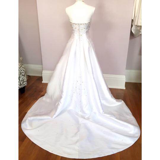 Alfred Angelo White Gold Strapless Beaded Formal Wedding Dress Size 6 (S) Image 2