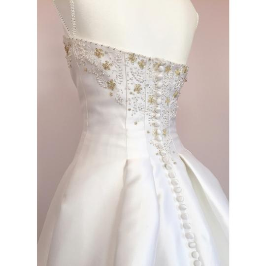 Alfred Angelo White Gold Strapless Beaded Formal Wedding Dress Size 6 (S) Image 3