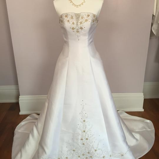 Alfred Angelo White Gold Strapless Beaded Formal Wedding Dress Size 6 (S) Image 4