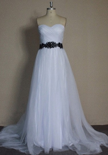 White Point D'esprit Tulle Strapless Sweetheart Illusion Overlay Ballgown Formal Wedding Dress Size 6 (S) Image 4