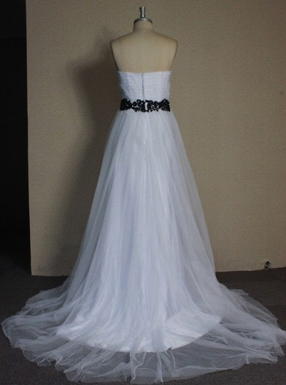 White Point D'esprit Tulle Strapless Sweetheart Illusion Overlay Ballgown Formal Wedding Dress Size 6 (S) Image 5