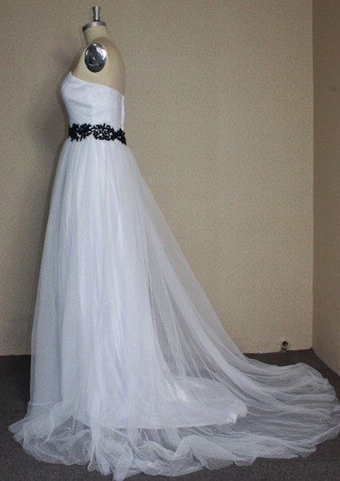 White Point D'esprit Tulle Strapless Sweetheart Illusion Overlay Ballgown Formal Wedding Dress Size 6 (S) Image 6