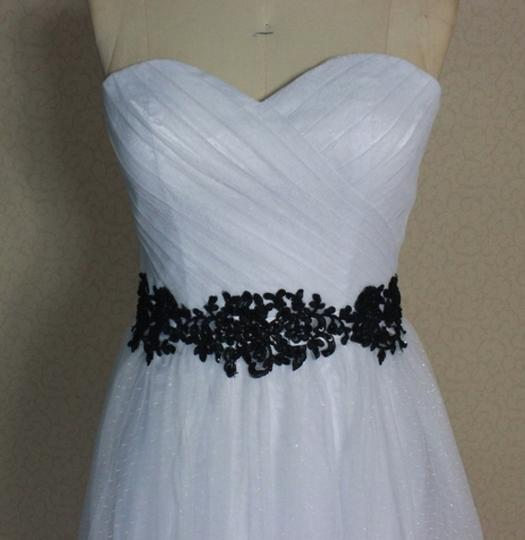 White Point D'esprit Tulle Strapless Sweetheart Illusion Overlay Ballgown Formal Wedding Dress Size 6 (S) Image 8