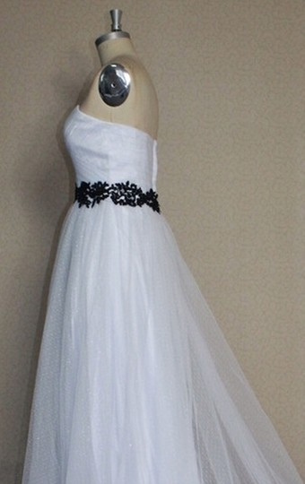 White Point D'esprit Tulle Strapless Sweetheart Illusion Overlay Ballgown Formal Wedding Dress Size 6 (S) Image 9
