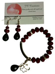 JC Creations artistic jewelry Red Gold plated faceted crystal bracelet with charms and earrings set!