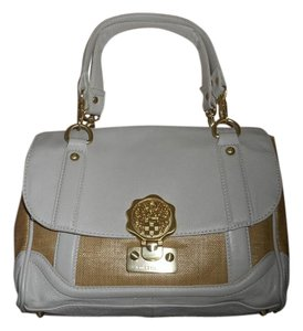 Vince Camuto Leather Straw Brass Satchel in White/Natural