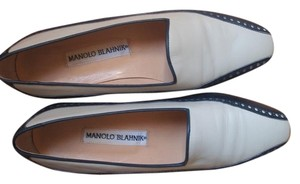 Manolo Blahnik navy blue and white Flats