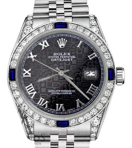 Rolex Ladies Rolex 26mm Black Jubilee RomanNumeral Dial Sapphire Diamonds