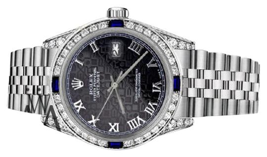 Rolex Ladies Rolex 26mm Black Jubilee RomanNumeral Dial Sapphire Diamonds Image 1