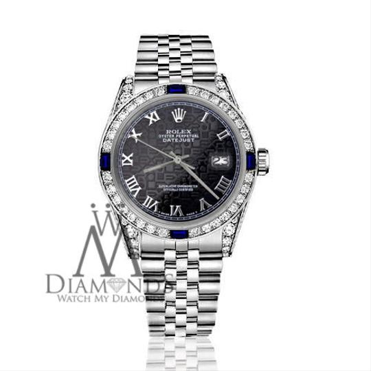 Rolex Ladies Rolex 26mm Black Jubilee RomanNumeral Dial Sapphire Diamonds Image 2