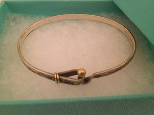 Tiffany & Co. Silver and Gold Hook and Eye Bangle