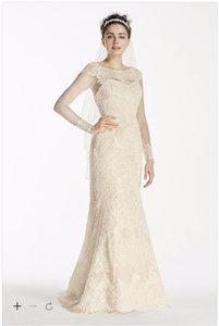 Oleg Cassini Oleg Cassini Illusion Long Sleeve Wedding Dress (size 2p) Cwg712 Wedding Dress