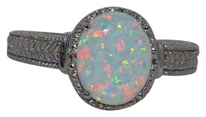 Other Opal & Diamond Oval Ring .925 Sterling Silver