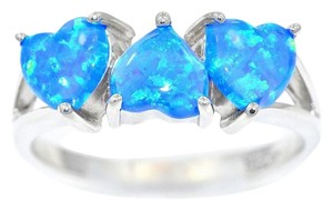 Other Blue Opal 3 Hearts Ring .925 Sterling Silver