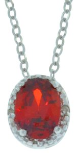 1 Ct Garnet & Diamond Oval Pendant .925 Sterling Silver