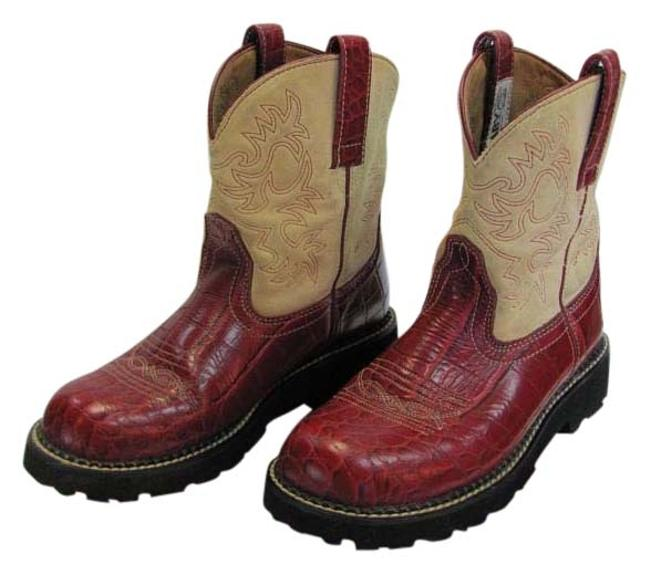 Item - Red Neutral M Leather Reptile Design Very Good Condition Boots/Booties Size US 8.5 Regular (M, B)