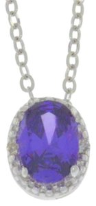 Other 1 Ct Amethyst & Diamond Oval Pendant .925 Sterling Silver