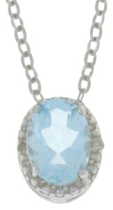 Other 1 Ct Aquamarine & Diamond Oval Pendant .925 Sterling Silver