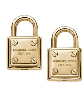 Michael Kors Gold Padlock Stud Earrings