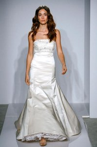 Alvina Valenta Mermaid Silk Satin 9707 Beaded Empire Strapless Sz 8/10 Wedding Dress