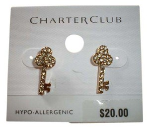 Charter Club New on card Charter Club Gold Tone with crystals EARRINGS New