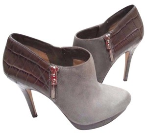 Michael Kors Crocodile Embossed Almond Toe Zip Sides Silver Tone Hardware Grey and Brown Boots