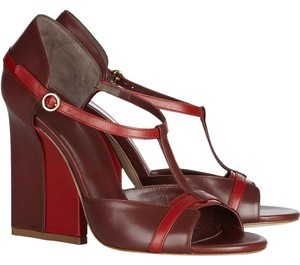 Bally Statement Leather Red and Burgundy Merlot Sandals