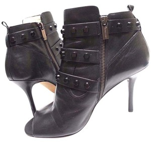 Michael Kors Buckle Open Toe Calf Leather Studs Detailing Cutout Sides Black Boots