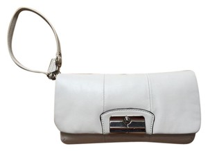 Coach Wristlet Buckle Cream Clutch