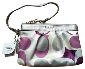 Coach Wrislet Purple Logo Wristlet in Multi