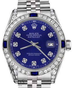 Rolex Rolex 36mm Datejust Blue Dial Sapphire & Diamonds Bezel Accent Watch
