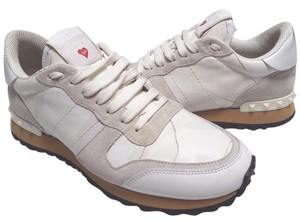 Valentino Calf Skin Leather Suede Trim Signature Rockstud Runs Small Logo Patch At Tongue White Camouflage Athletic