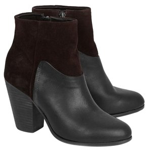 Rag & Bone Ankle Distressed-suede Style 976314 Side Zip Black/Brown Moka Boots